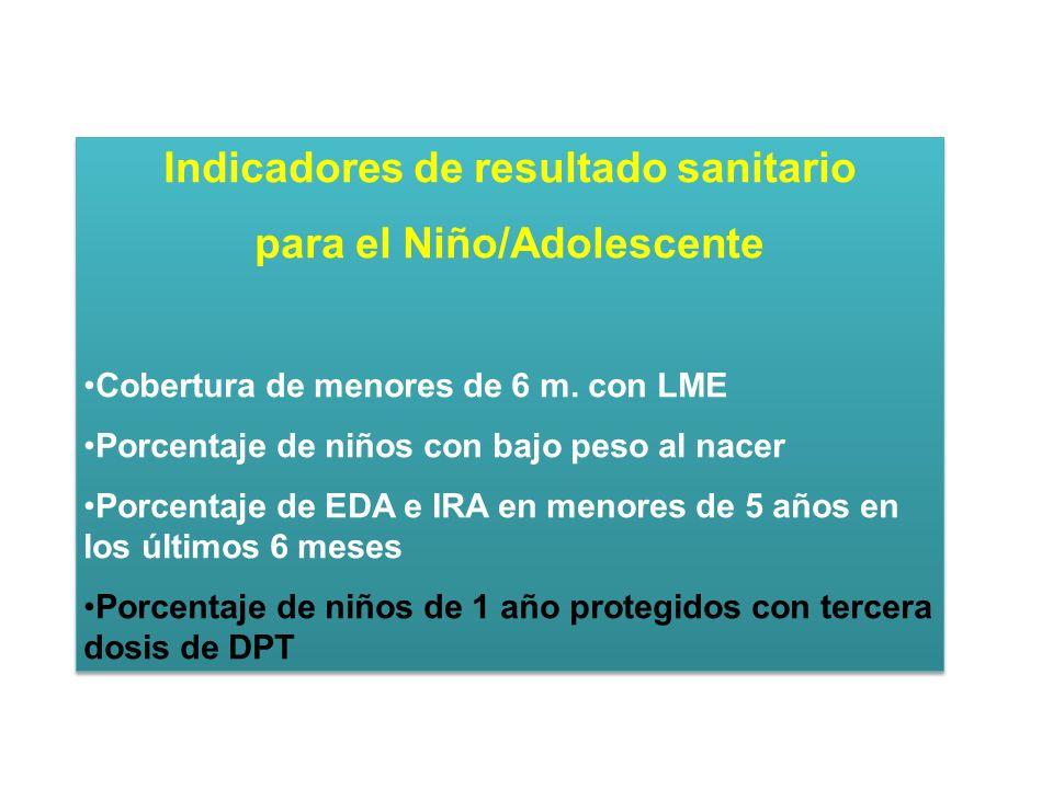 Indicadores de resultado sanitario para el Niño/Adolescente