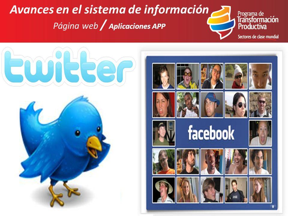 Avances en el sistema de información Página web / Aplicaciones APP