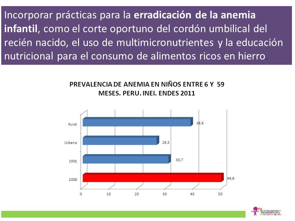 Incorporar prácticas para la erradicación de la anemia infantil, como el corte oportuno del cordón umbilical del recién nacido, el uso de multimicronutrientes y la educación nutricional para el consumo de alimentos ricos en hierro.