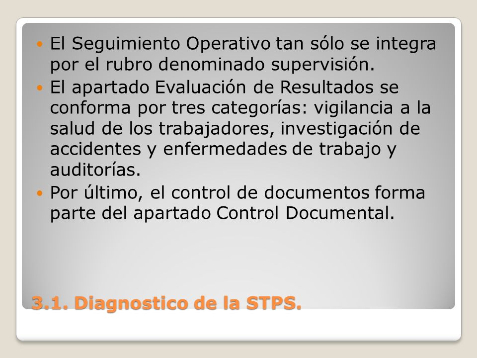 El Seguimiento Operativo tan sólo se integra por el rubro denominado supervisión.