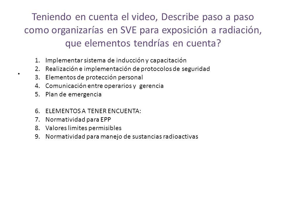 Teniendo en cuenta el video, Describe paso a paso como organizarías en SVE para exposición a radiación, que elementos tendrías en cuenta