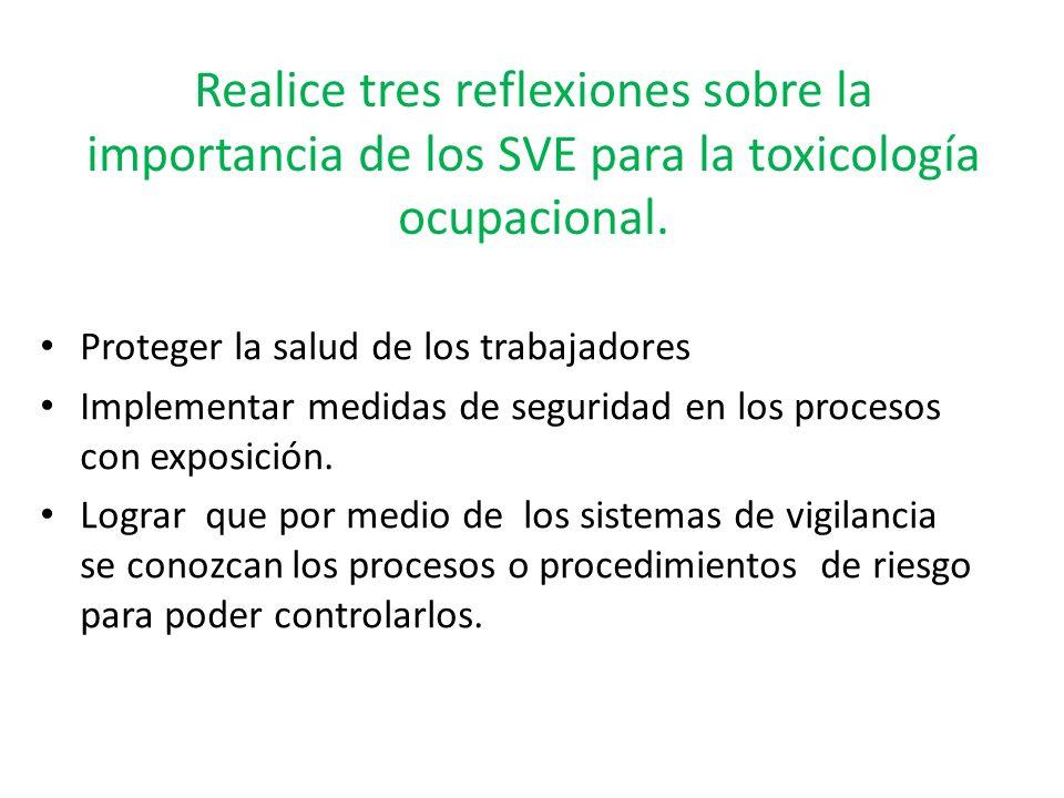 Realice tres reflexiones sobre la importancia de los SVE para la toxicología ocupacional.