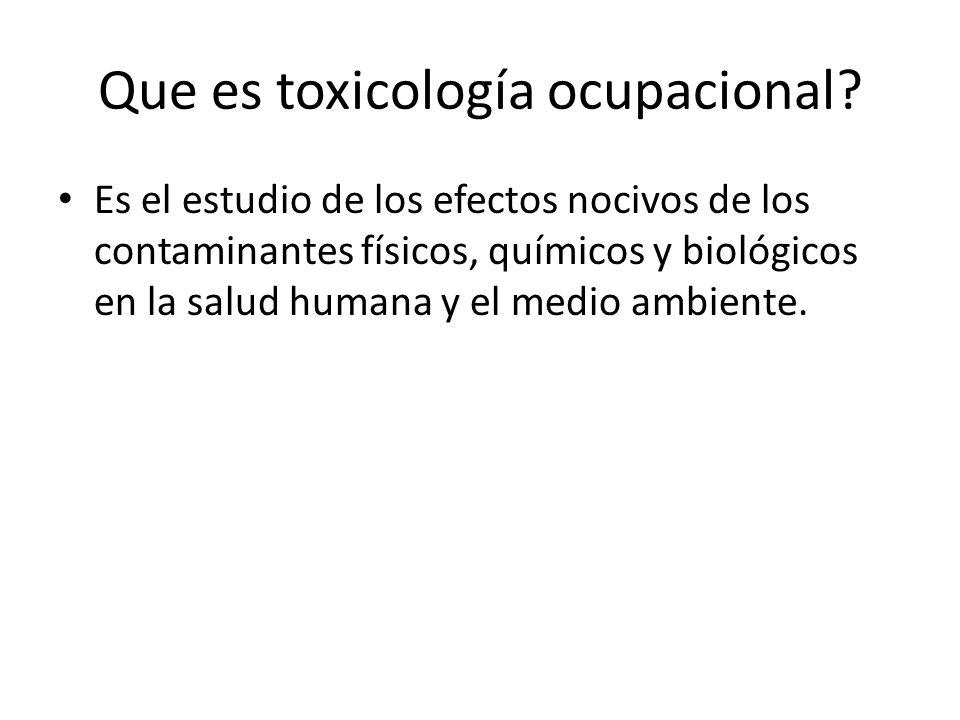 Que es toxicología ocupacional