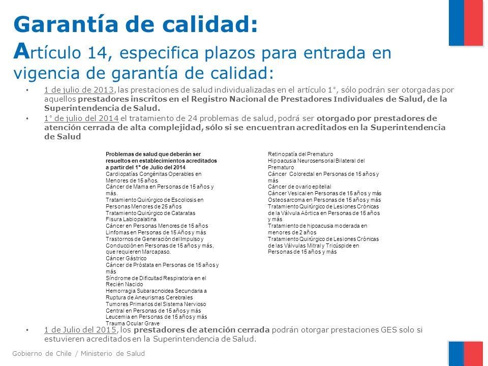 Garantía de calidad: Artículo 14, especifica plazos para entrada en vigencia de garantía de calidad:
