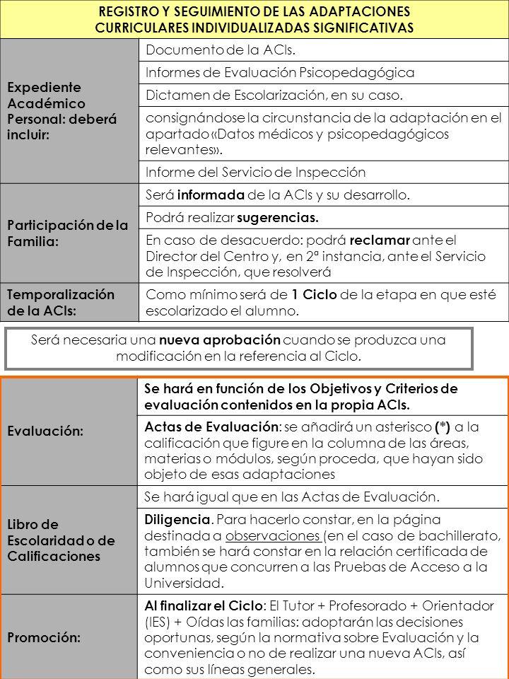 REGISTRO Y SEGUIMIENTO DE LAS ADAPTACIONES CURRICULARES INDIVIDUALIZADAS SIGNIFICATIVAS