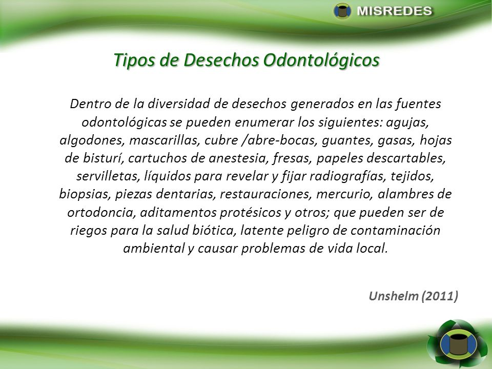 Tipos de Desechos Odontológicos