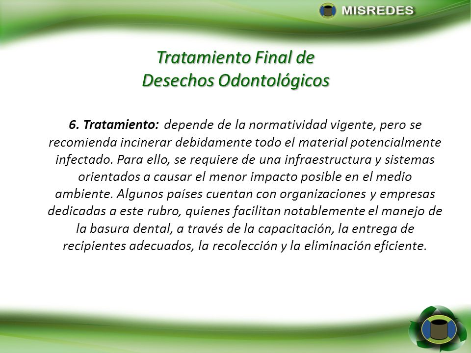 Tratamiento Final de Desechos Odontológicos