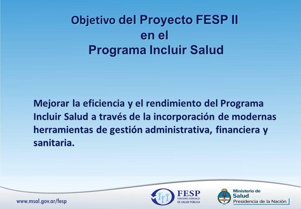 Objetivo del Proyecto FESP II Programa Incluir Salud