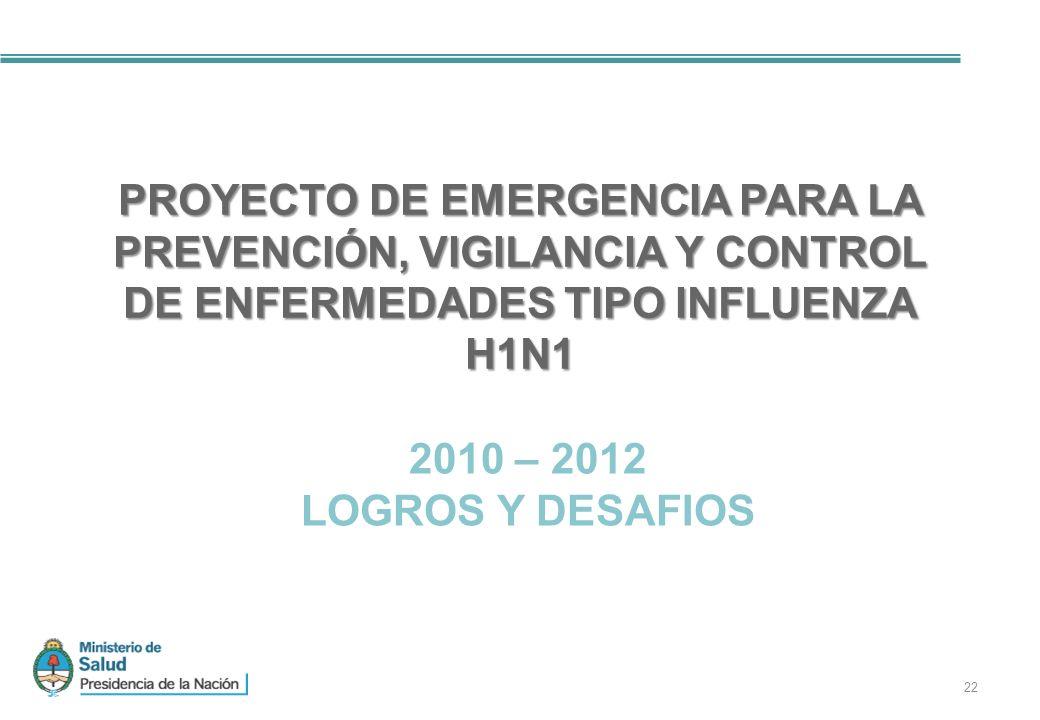 PROYECTO DE EMERGENCIA PARA LA PREVENCIÓN, VIGILANCIA Y CONTROL DE ENFERMEDADES TIPO INFLUENZA H1N1