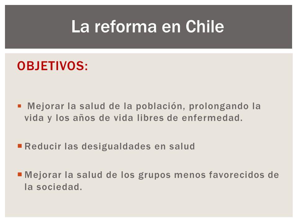 La reforma en Chile OBJETIVOS: Reducir las desigualdades en salud