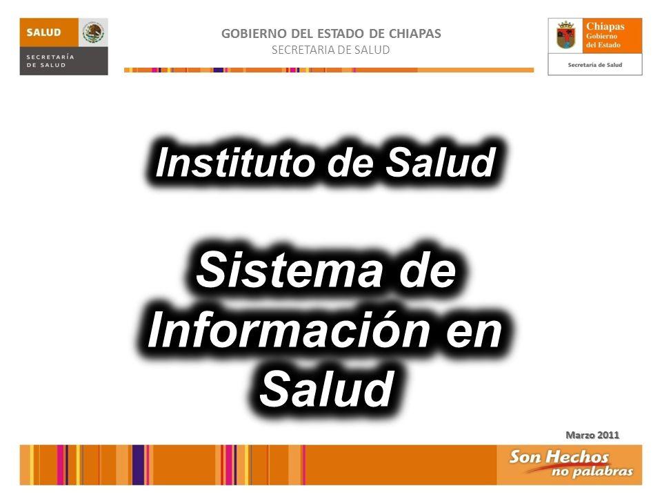 GOBIERNO DEL ESTADO DE CHIAPAS Sistema de Información en Salud