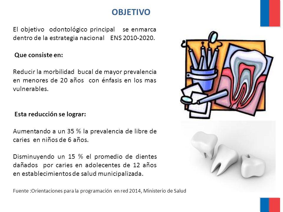 OBJETIVO El objetivo odontológico principal se enmarca dentro de la estrategia nacional ENS 2010-2020.