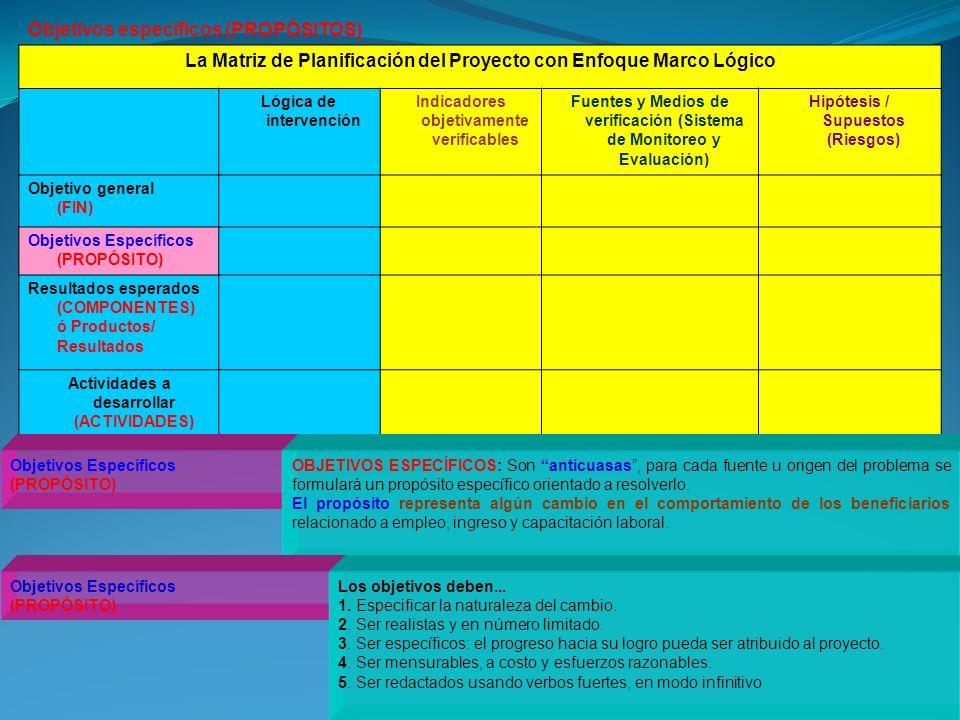 La Matriz de Planificación del Proyecto con Enfoque Marco Lógico