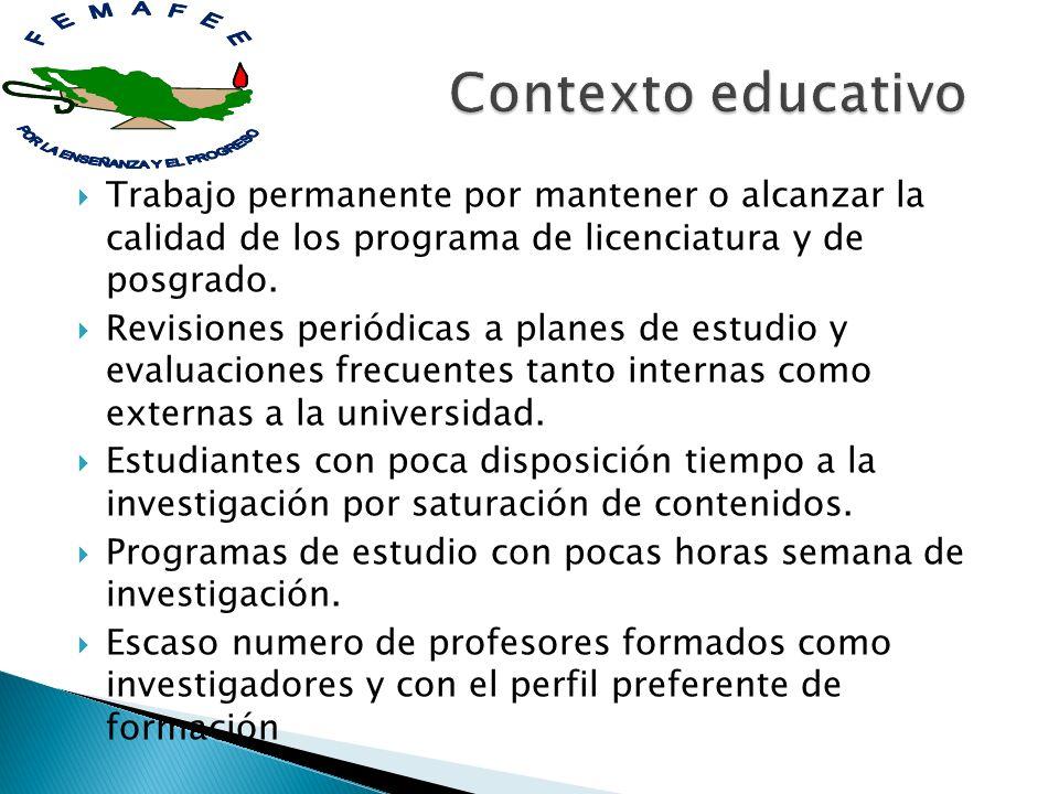Contexto educativo Trabajo permanente por mantener o alcanzar la calidad de los programa de licenciatura y de posgrado.