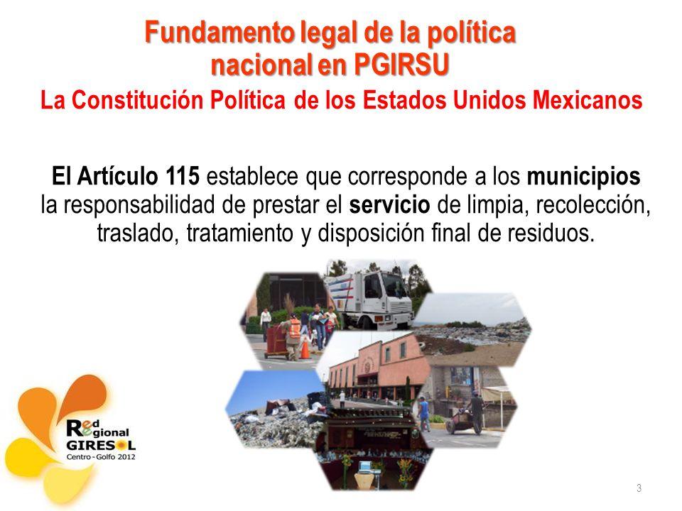 Fundamento legal de la política nacional en PGIRSU