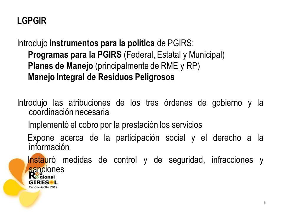 Introdujo instrumentos para la política de PGIRS: