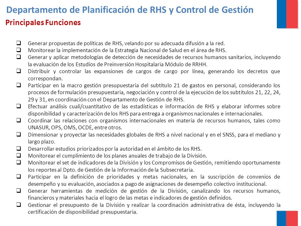 Departamento de Planificación de RHS y Control de Gestión