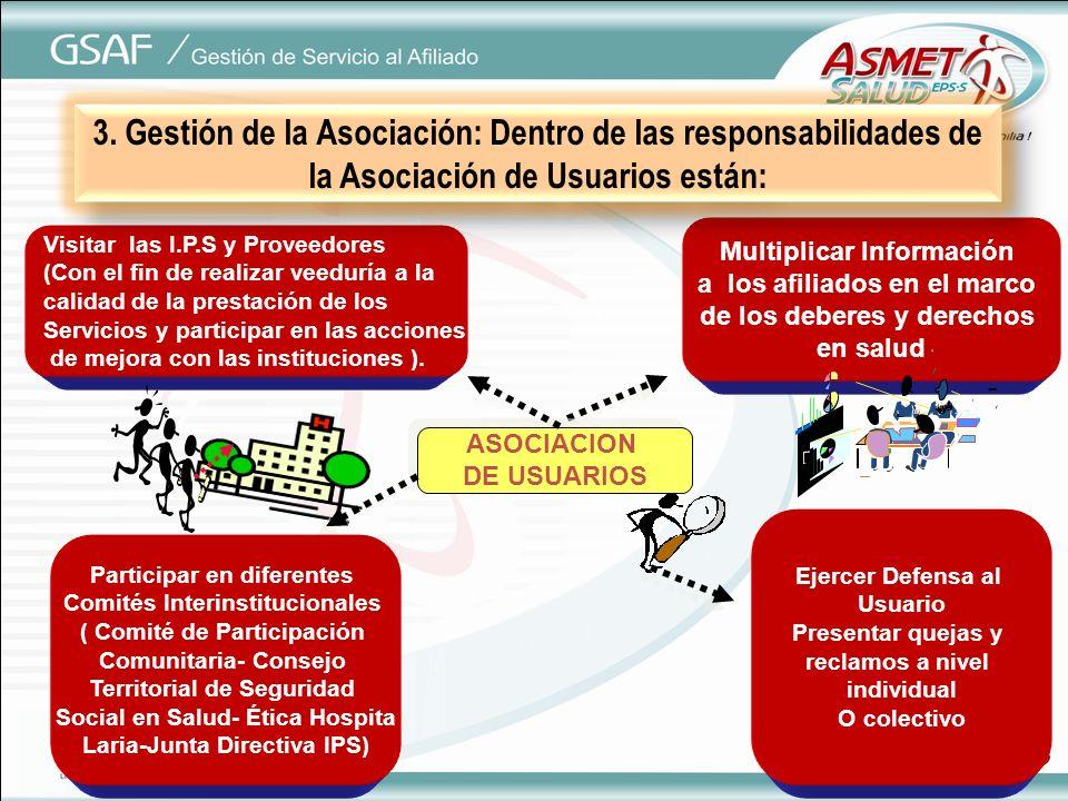 3. Gestión de la Asociación: Dentro de las responsabilidades de la Asociación de Usuarios están: