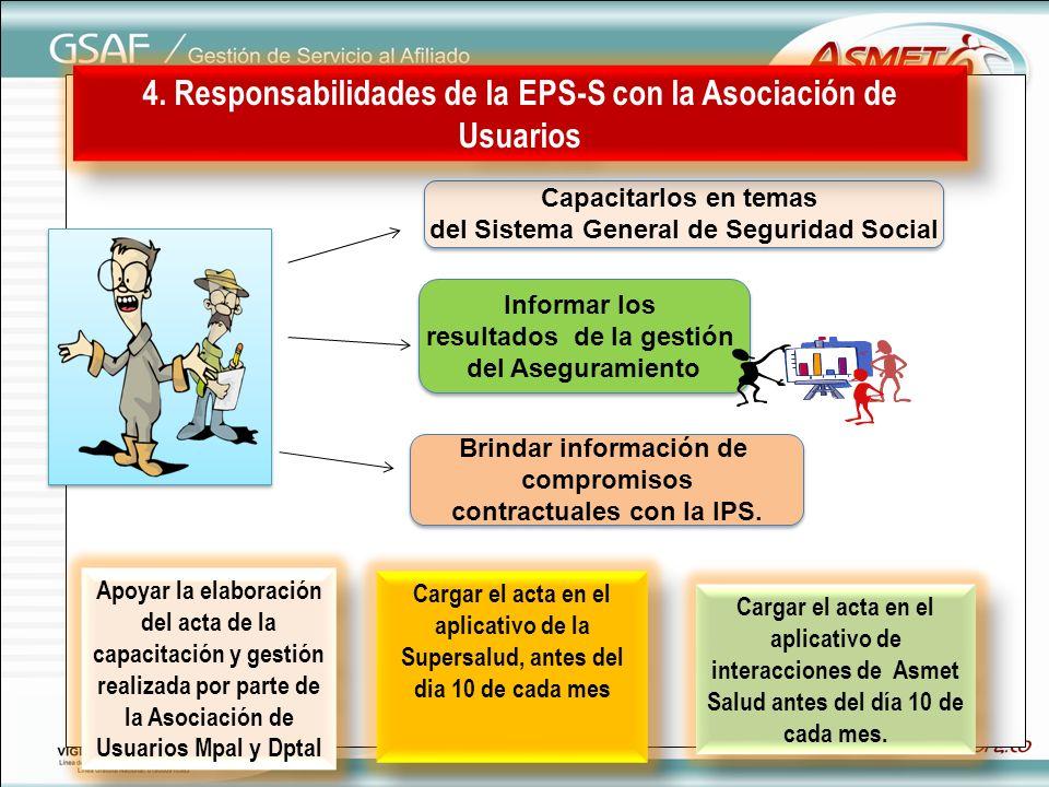 4. Responsabilidades de la EPS-S con la Asociación de Usuarios