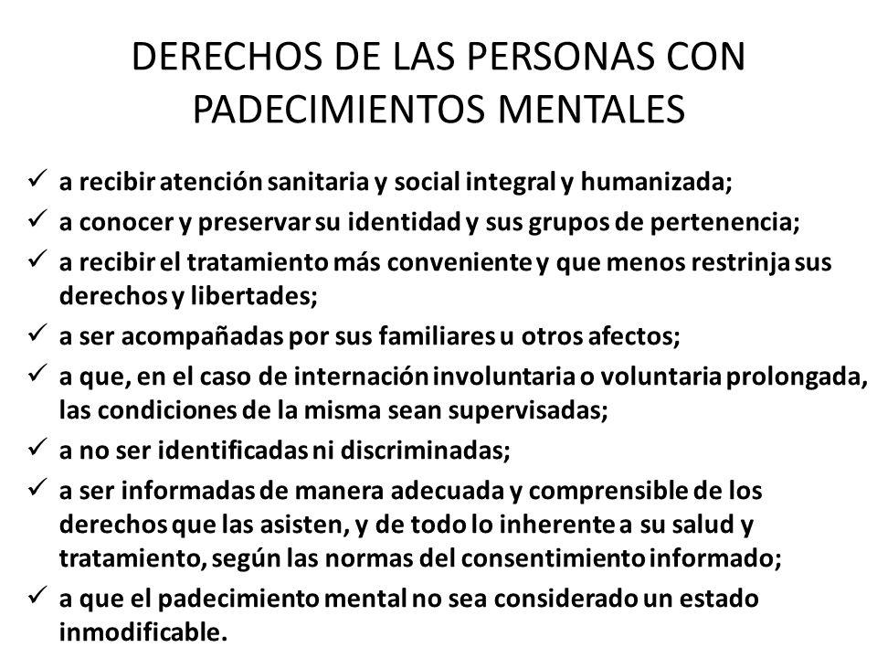 DERECHOS DE LAS PERSONAS CON PADECIMIENTOS MENTALES