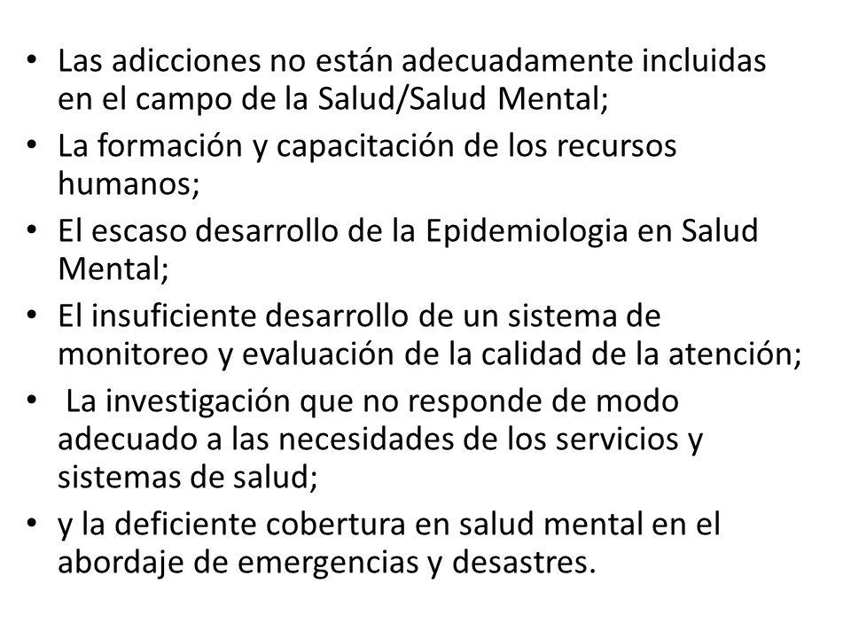 Las adicciones no están adecuadamente incluidas en el campo de la Salud/Salud Mental;