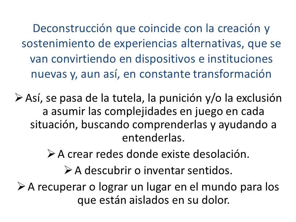 Deconstrucción que coincide con la creación y sostenimiento de experiencias alternativas, que se van convirtiendo en dispositivos e instituciones nuevas y, aun así, en constante transformación