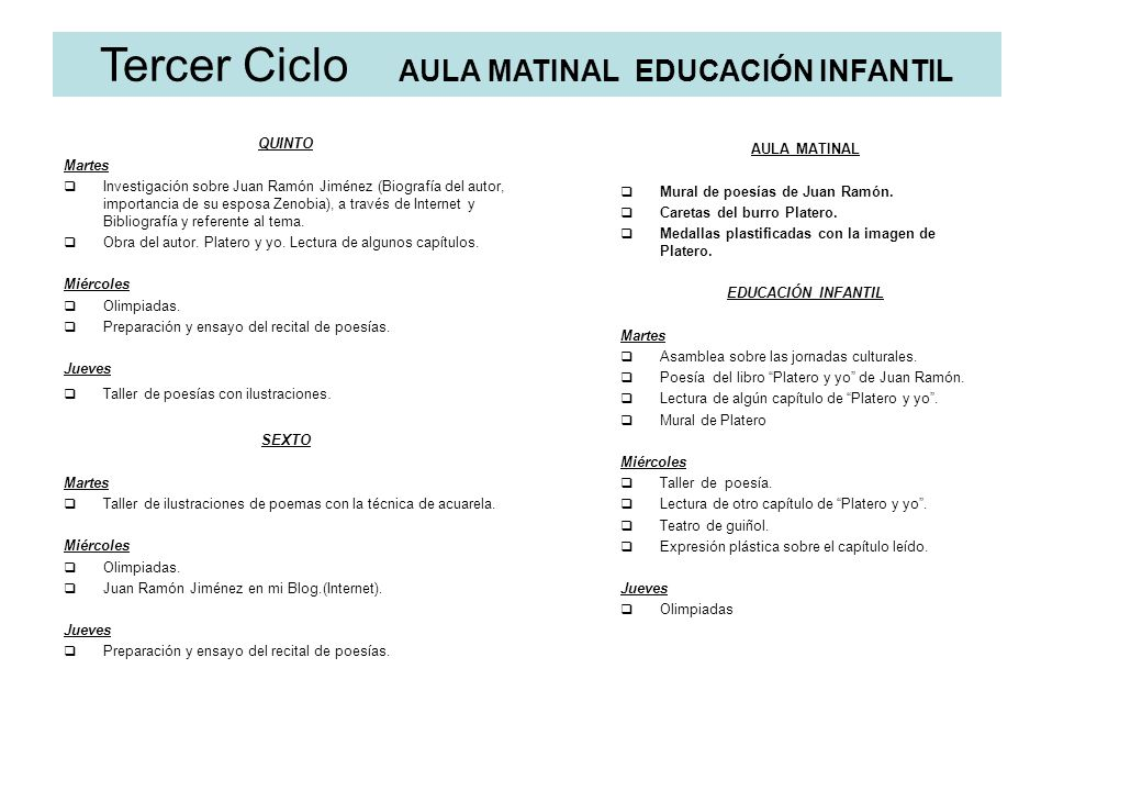 Tercer Ciclo AULA MATINAL EDUCACIÓN INFANTIL