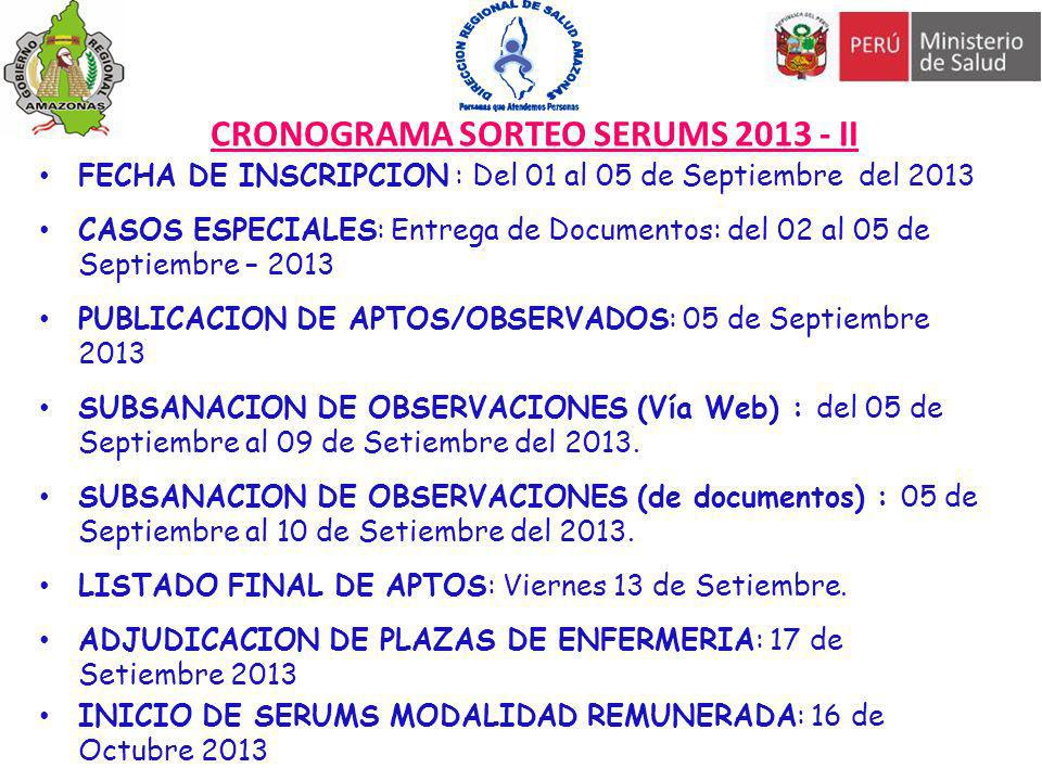 CRONOGRAMA SORTEO SERUMS 2013 - II