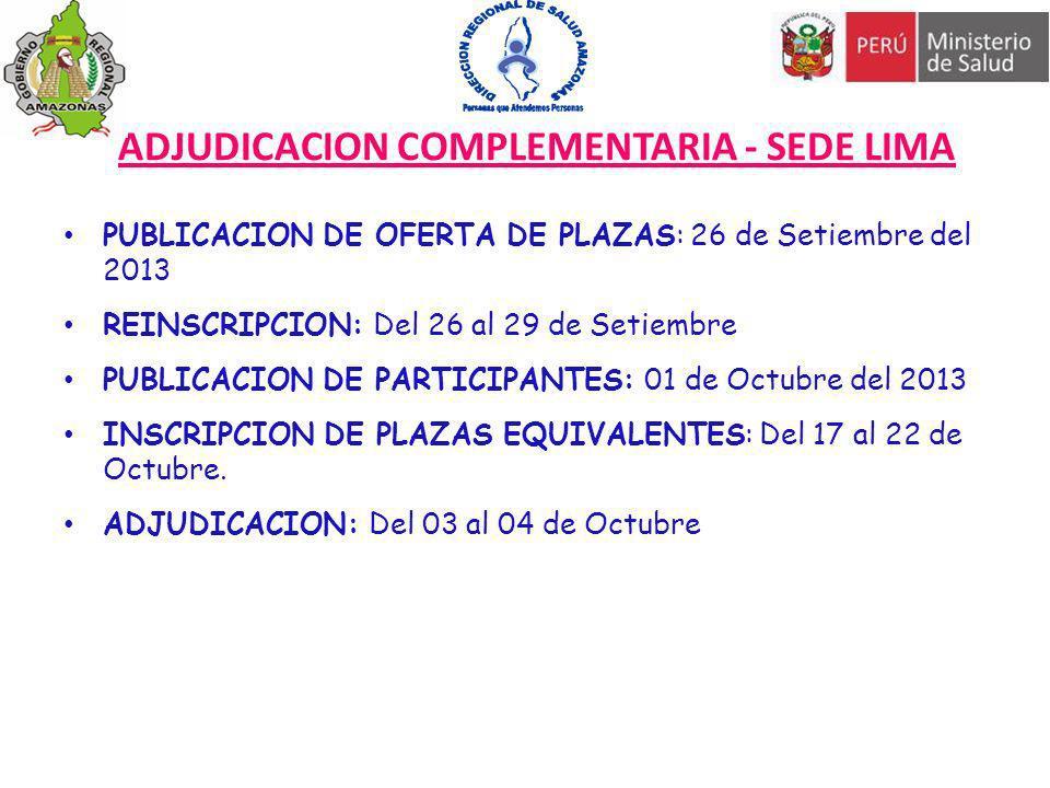 ADJUDICACION COMPLEMENTARIA - SEDE LIMA