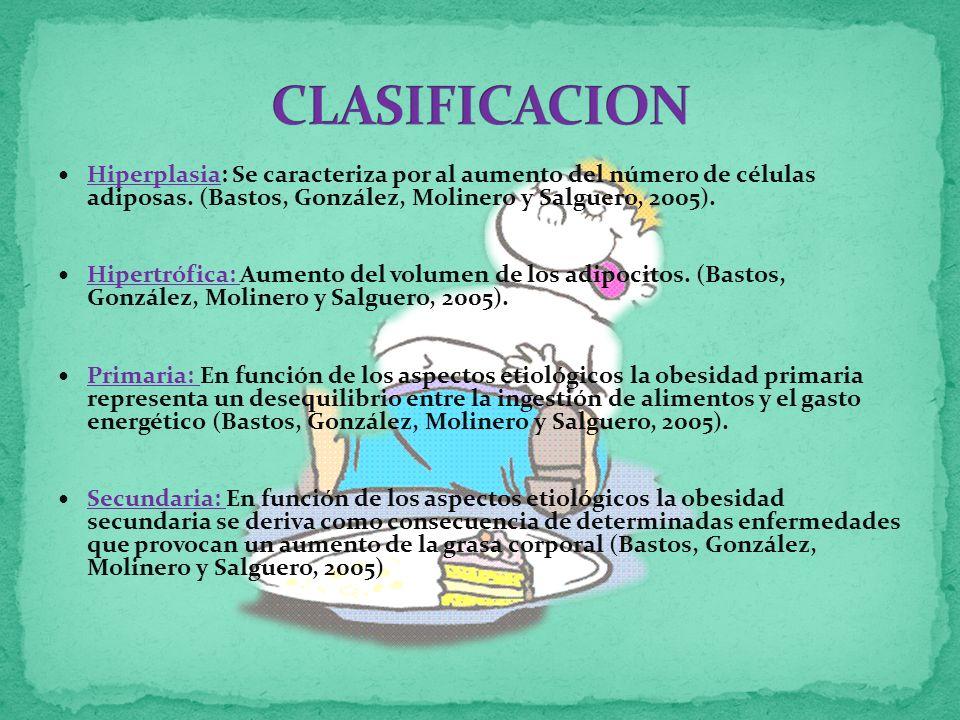 CLASIFICACION Hiperplasia: Se caracteriza por al aumento del número de células adiposas. (Bastos, González, Molinero y Salguero, 2005).