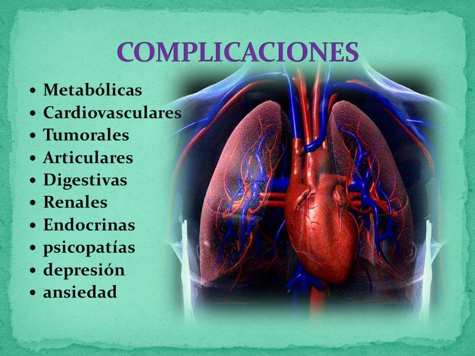 COMPLICACIONES Metabólicas Cardiovasculares Tumorales Articulares