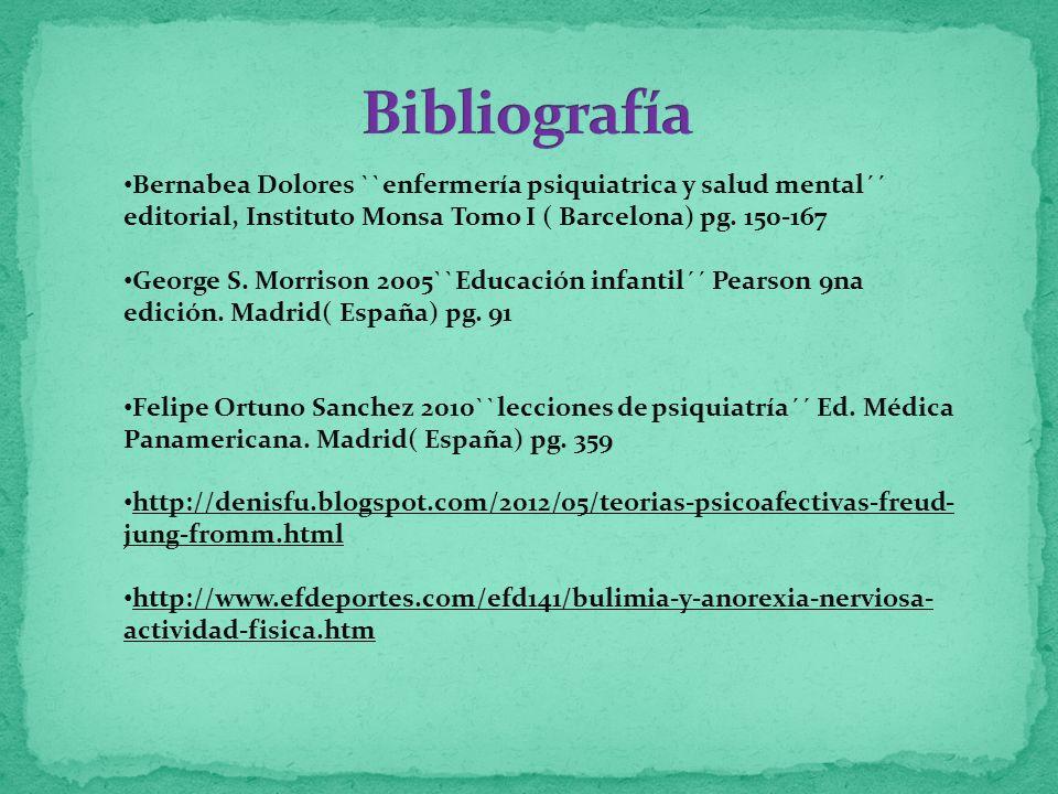 Bibliografía Bernabea Dolores ``enfermería psiquiatrica y salud mental´´ editorial, Instituto Monsa Tomo I ( Barcelona) pg. 150-167.
