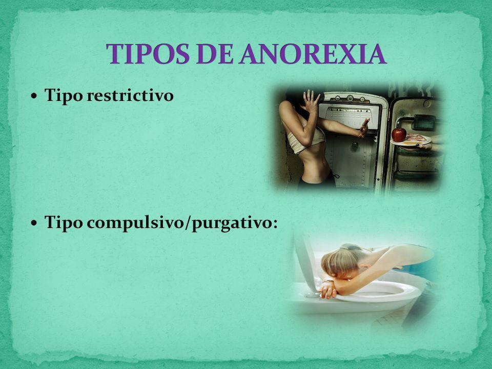 TIPOS DE ANOREXIA Tipo restrictivo Tipo compulsivo/purgativo: