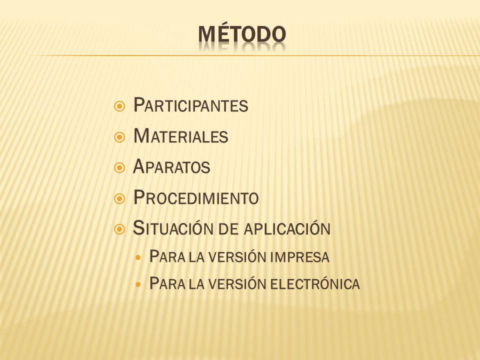 Método Participantes Materiales Aparatos Procedimiento