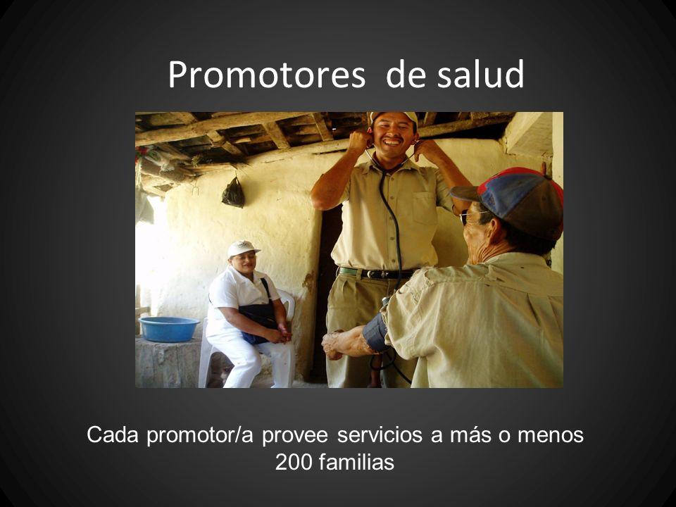 Cada promotor/a provee servicios a más o menos 200 familias