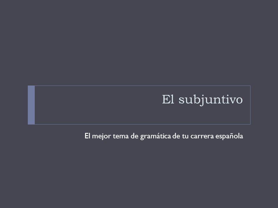 El subjuntivo El mejor tema de gramática de tu carrera española