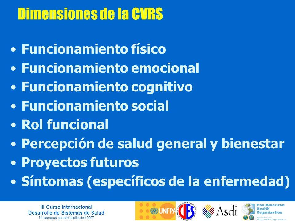 Dimensiones de la CVRS Funcionamiento físico Funcionamiento emocional