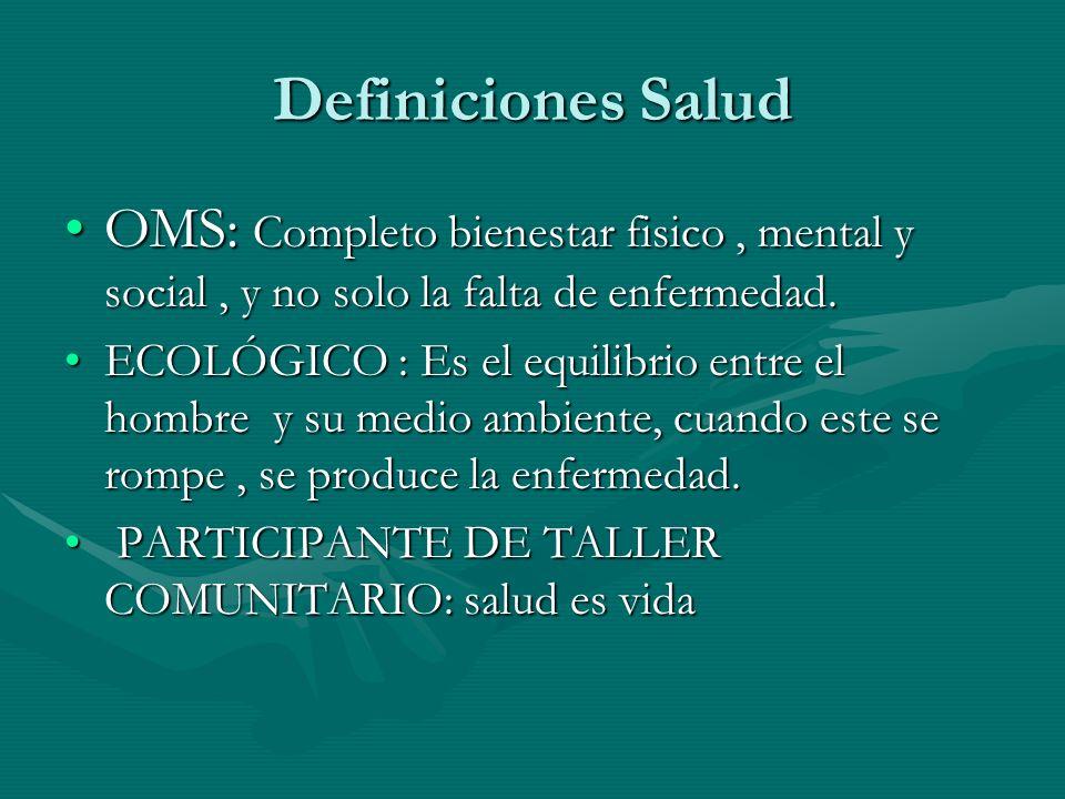 Definiciones Salud OMS: Completo bienestar fisico , mental y social , y no solo la falta de enfermedad.