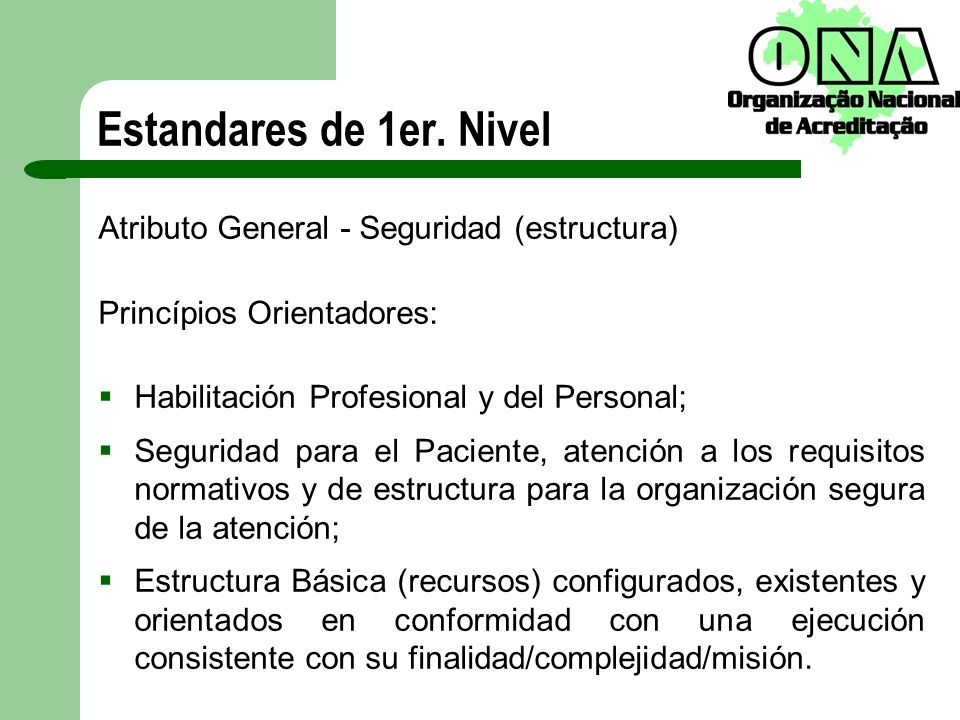 Estandares de 1er. Nivel Atributo General - Seguridad (estructura)