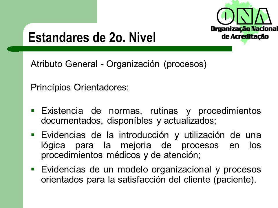 Estandares de 2o. Nivel Atributo General - Organización (procesos)