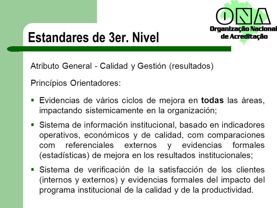 Estandares de 3er. Nivel Atributo General - Calidad y Gestión (resultados) Princípios Orientadores: