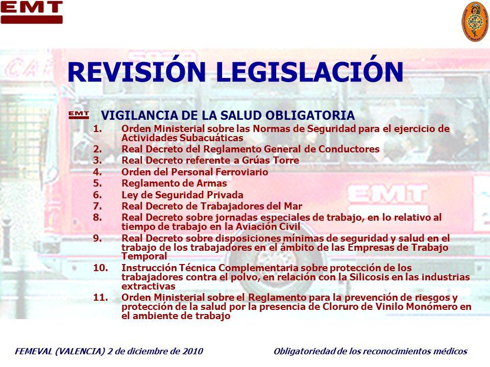REVISIÓN LEGISLACIÓN VIGILANCIA DE LA SALUD OBLIGATORIA