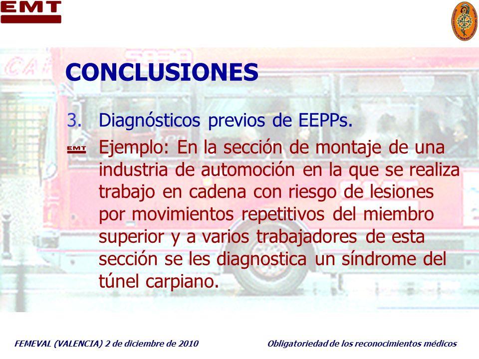 CONCLUSIONES Diagnósticos previos de EEPPs.