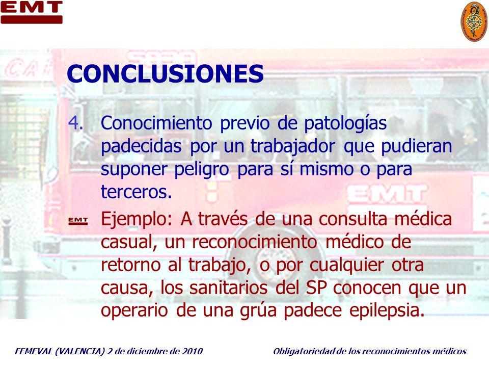 CONCLUSIONES Conocimiento previo de patologías padecidas por un trabajador que pudieran suponer peligro para sí mismo o para terceros.