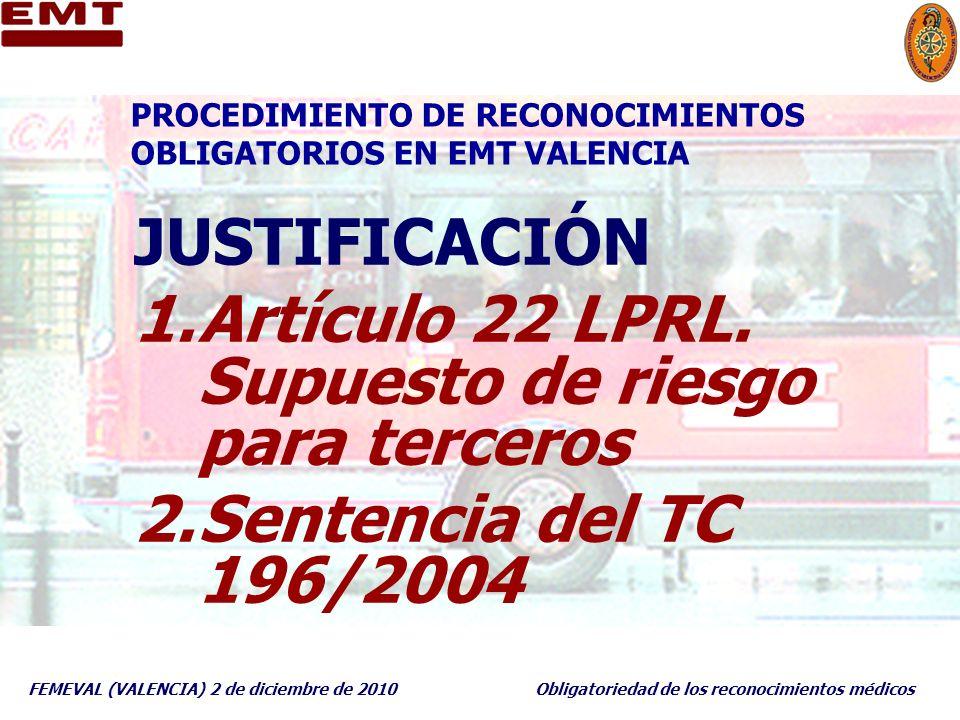 PROCEDIMIENTO DE RECONOCIMIENTOS OBLIGATORIOS EN EMT VALENCIA