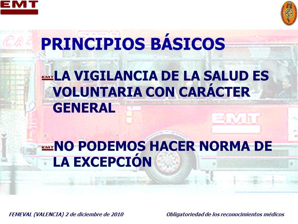 PRINCIPIOS BÁSICOS LA VIGILANCIA DE LA SALUD ES VOLUNTARIA CON CARÁCTER GENERAL. NO PODEMOS HACER NORMA DE LA EXCEPCIÓN.