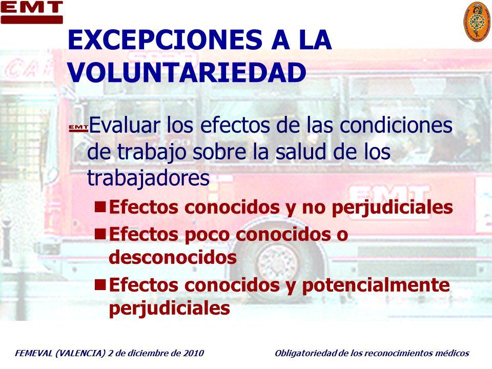 EXCEPCIONES A LA VOLUNTARIEDAD