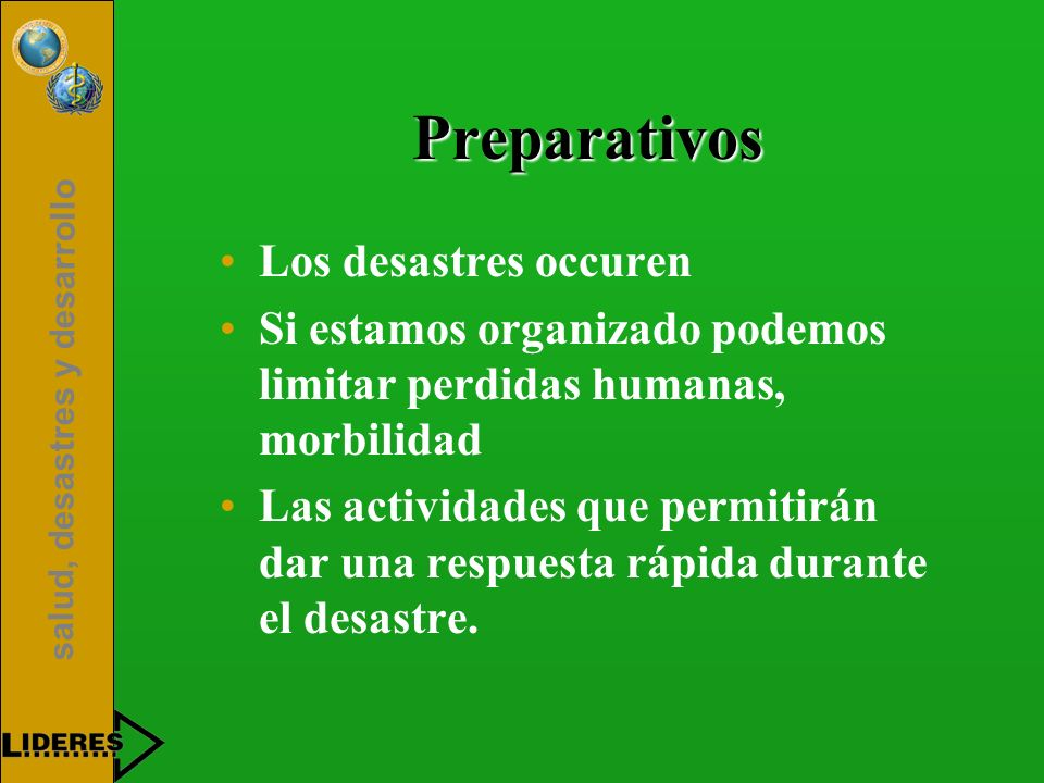 Preparativos Los desastres occuren