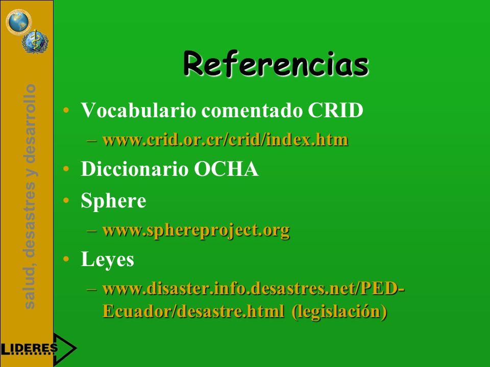 Referencias Vocabulario comentado CRID Diccionario OCHA Sphere Leyes