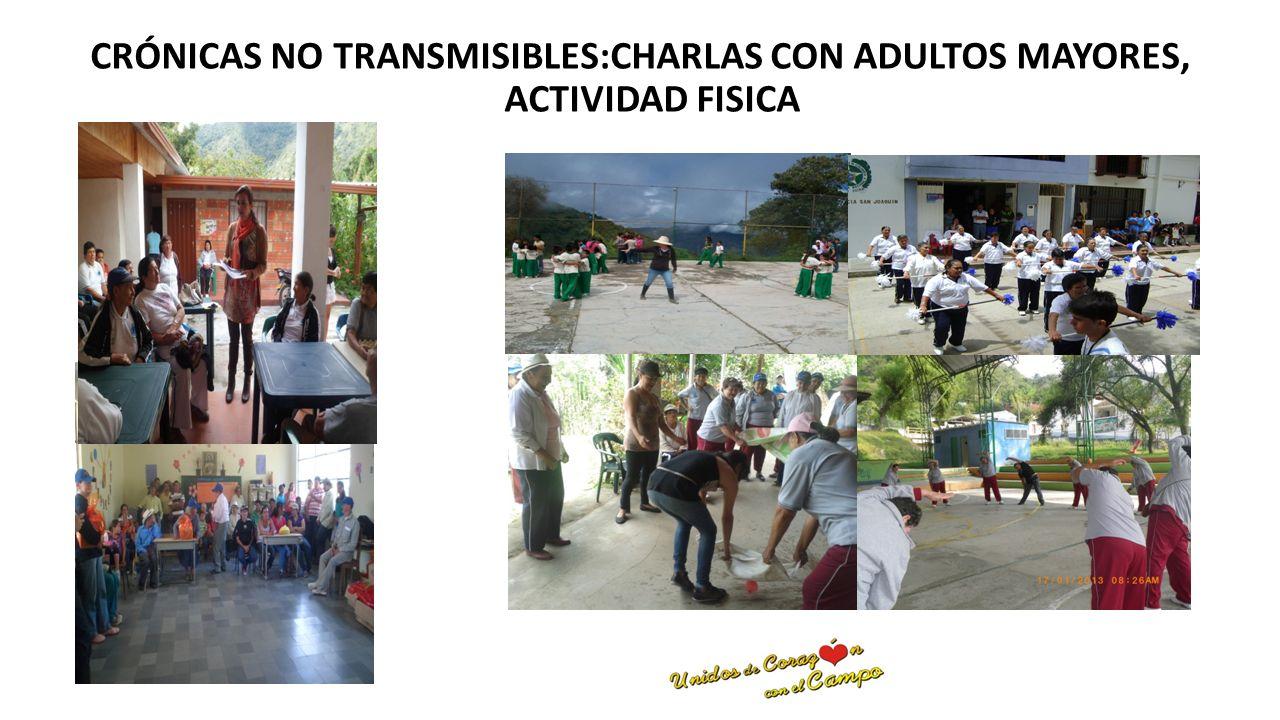 CRÓNICAS NO TRANSMISIBLES:CHARLAS CON ADULTOS MAYORES, ACTIVIDAD FISICA